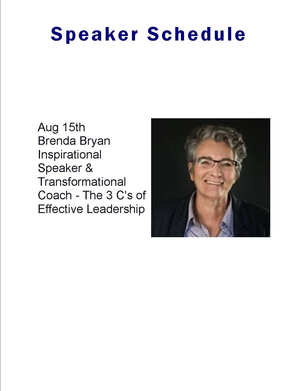 Speaker Calendar August 15